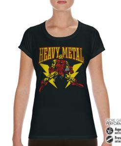 T-Shirt de sport Iron Man Likes Heavy Metal pour femme de couleur Noir