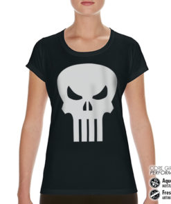 T-Shirt de sport Marvel Comics - The Punisher Skull pour femme de couleur Noir