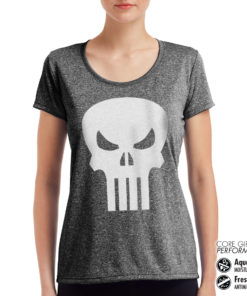 T-Shirt de sport Marvel Comics - The Punisher Skull pour femme de couleur
