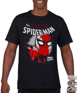 T-Shirt de sport Spider-Man Close Up anti-transpi pour homme de couleur Noir