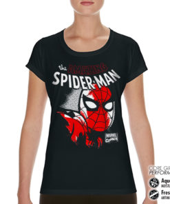 T-Shirt de sport Spider-Man Close Up pour femme de couleur Noir