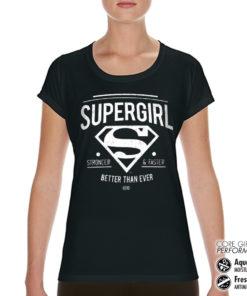 T-Shirt de sport Supergirl - Strong & Faster pour femme de couleur Noir