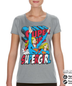 T-Shirt de sport Supergirl pour femme de couleur Gris
