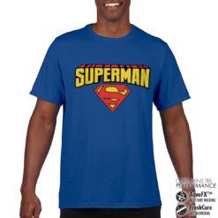 T-Shirt de sport Superman Blockletter Logo anti-transpi pour homme de couleur Bleu