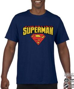 T-Shirt de sport Superman Blockletter Logo anti-transpi pour homme de couleur Bleu Nuit