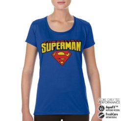 T-Shirt de sport Superman Blockletter Logo pour femme de couleur Bleu
