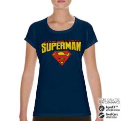 T-Shirt de sport Superman Blockletter Logo pour femme de couleur Bleu Nuit