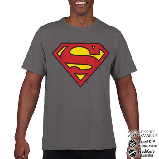 T-Shirt de sport Superman Shield anti-transpi pour homme de couleur Gris Foncé