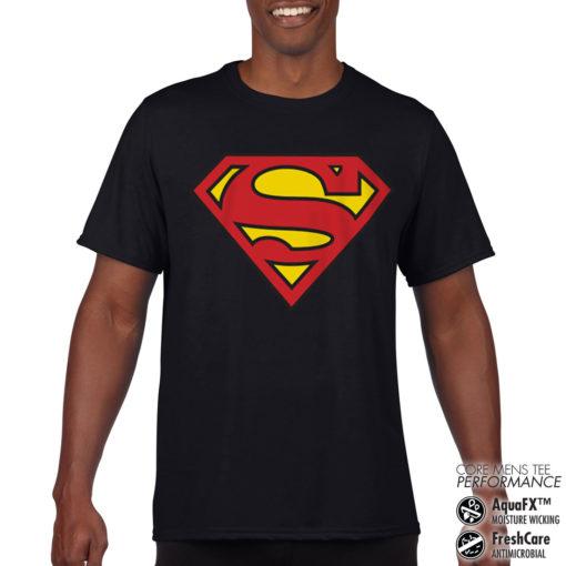 T-Shirt de sport Superman Shield anti-transpi pour homme de couleur Noir