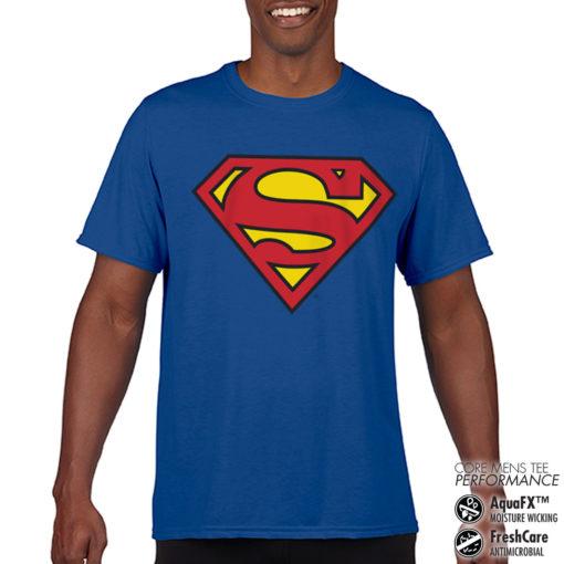 T-Shirt de sport Superman Shield anti-transpi pour homme de couleur Bleu