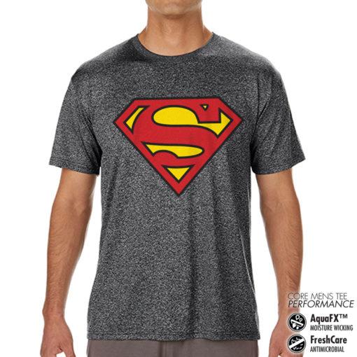 T-Shirt de sport Superman Shield anti-transpi pour homme de couleur Gris Noir Chiné