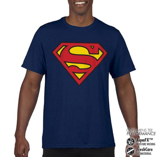 T-Shirt de sport Superman Shield anti-transpi pour homme de couleur Bleu Nuit