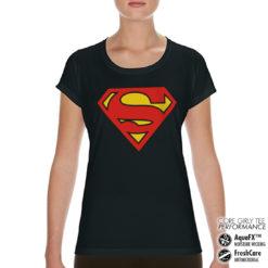 T-Shirt de sport Superman Shield pour femme de couleur Noir