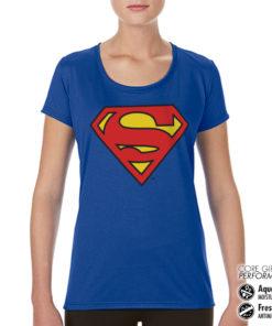 T-Shirt de sport Superman Shield pour femme de couleur Bleu