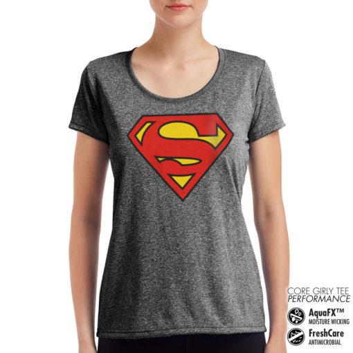 T-Shirt de sport Superman Shield pour femme de couleur Gris Noir Chiné