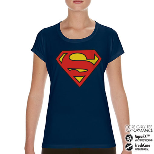 T-Shirt de sport Superman Shield pour femme de couleur Bleu Nuit