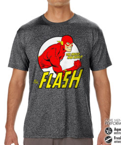 T-Shirt de sport The Flash - Fastest Man Alive Performance Mens tee anti-transpi pour homme de couleur Gris Noir Chiné