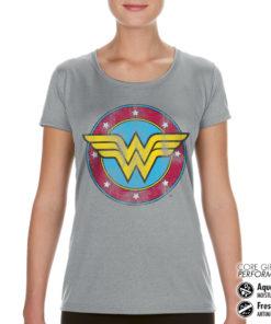 T-Shirt de sport Wonder Woman Logo pour femme de couleur Gris