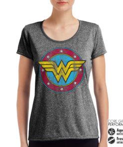 T-Shirt de sport Wonder Woman Logo pour femme de couleur Gris Noir Chiné