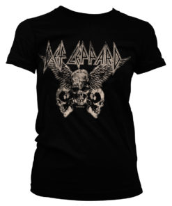 T-Shirt Def Leppard - Flying Skulls pour Femme de couleur Noir