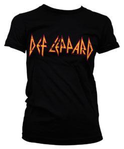 T-Shirt Def Leppard Logo pour Femme de couleur Noir