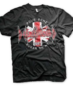 """T-Shirt DEF LEPPARD noir avec inscription """"Some Sugar on me"""""""