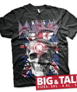 T-shirt Def Leppard Union Jack Skull grandes Tailles de couleur Noir