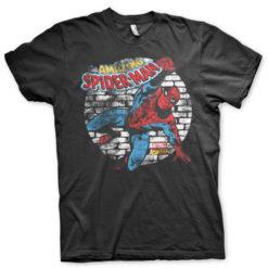 T-shirt Distressed Spider-Man grandes Tailles de couleur Noir