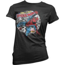 T-Shirt Distressed Spider-Man pour Femme de couleur Noir