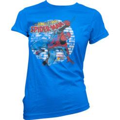 T-Shirt Distressed Spider-Man pour Femme de couleur Bleu