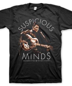 T-Shirt Elvis Presley - Suspicious Minds de couleur Noir