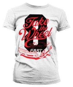 T-Shirt Fast 8 - Take The Wheel pour Femme de couleur Blanc