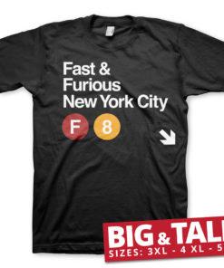 T-shirt Fast & Furious NYC grandes Tailles de couleur Noir