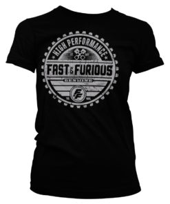 T-Shirt Fast and furious pour femme noir