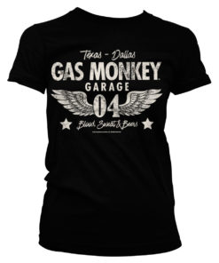 T-Shirt Gas Monkey Garage 04-WINGS pour Femme de couleur Noir