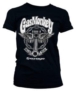 T-Shirt Gas Monkey Garage Big Piston pour Femme de couleur Noir