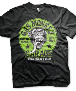 T-shirt Gas Monkey Garage - Green Logo grandes Tailles de couleur Noir