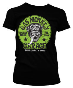 T-Shirt Gas Monkey Garage - Green Logo pour Femme de couleur Noir