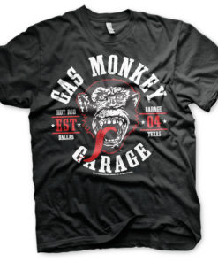 T-Shirt Gas Monkey Garage Round Seal de couleur Noir