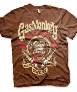 T-Shirt Gas Monkey Garage marron avec Eclairs rouges