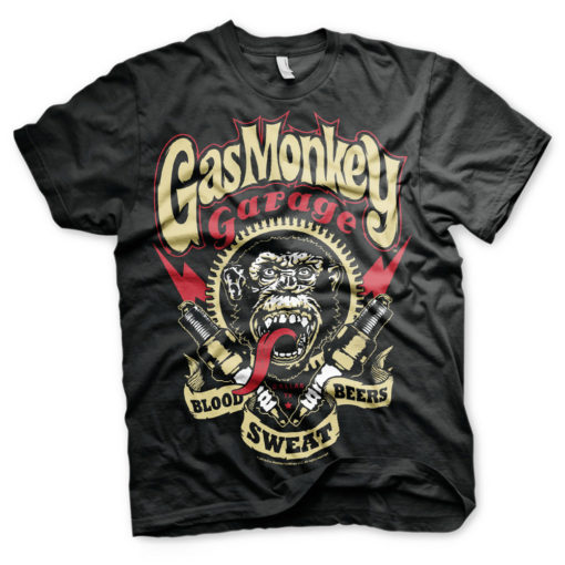 T-Shirt Gas Monkey Garage noir avec Eclairs rouges
