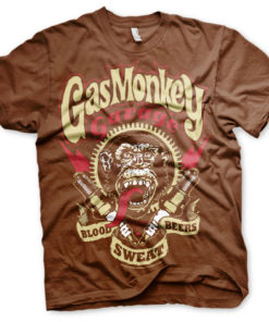 T-shirt Gaz Monkey Garage marron (tête de singe)