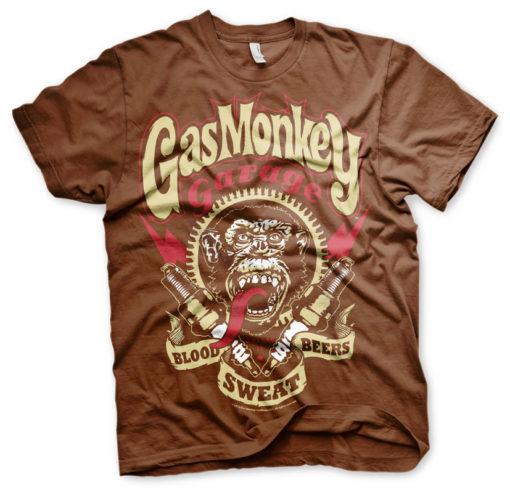 T-shirt Gaz Monkey Garage marron (tête de singe)