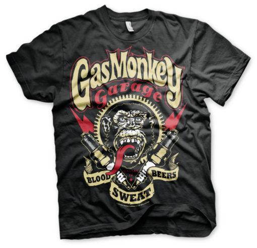 T-shirt Gaz Monkey Garage noir (tête de singe)