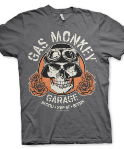 T-Shirt Gas Monkey Garage Skull de couleur Gris Foncé