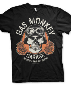 T-Shirt Gas Monkey Garage Skull de couleur Noir