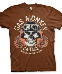 T-Shirt Gas Monkey Garage Skull de couleur Marron