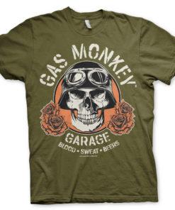 T-Shirt Gas Monkey Garage Skull de couleur Vert Olive