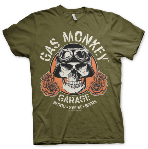 T-Shirt Gas Monkey Garage Skull de couleur Vert Olive