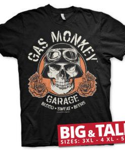 T-shirt Gas Monkey Garage Skull grandes Tailles de couleur Noir